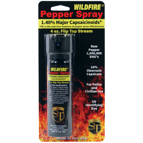 Wildfire 1.4% 4oz Flip-Top Actuator Pepper Spray Stream |