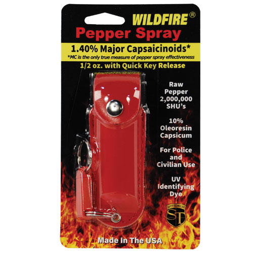 Wildfire 1/2oz Pepper Spray - Leather Holster |