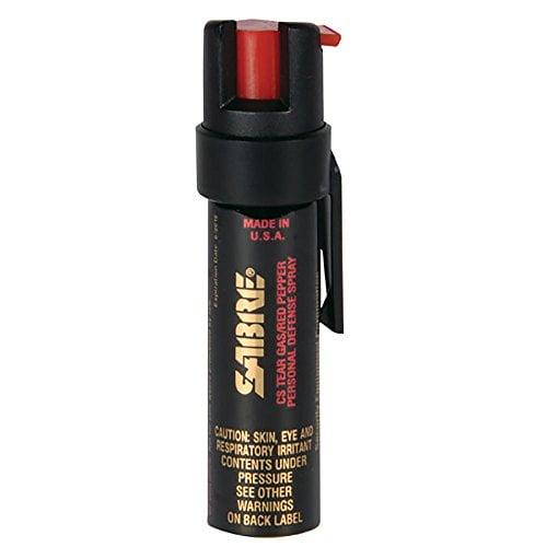 SABRE Advanced Compact Pepper Spray with Clip   3 in 1 Pepper Spray, CS Tear Gas & UV Marking Dye   Maximum Police Strength OC Spray, 10 Foot (3M) Range, 35 Bursts   Optional Practice Spray