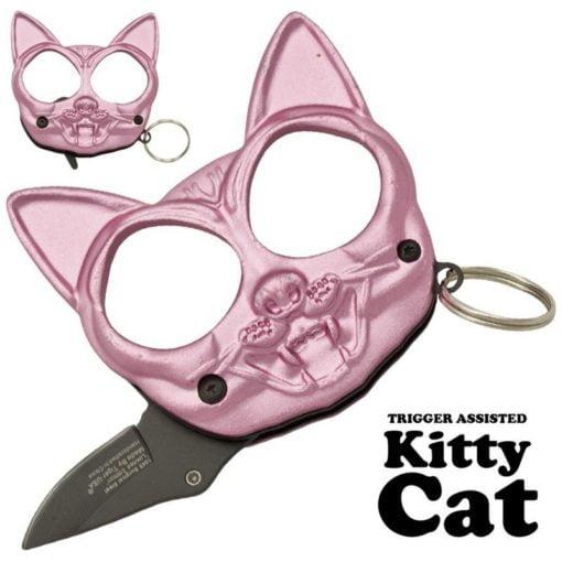 Kitty Cat Punch Fist Hidden Knife - Pink